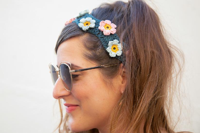 Haakpatroon – Flower power haarband