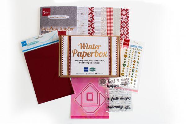 winter, papier, box, papierbox, papierpakket, vellen, printjes, stickers