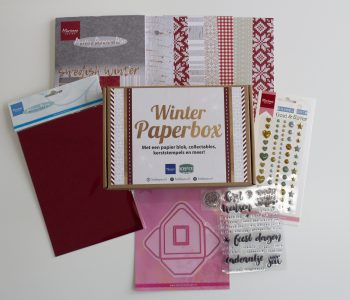 winter papierbox, kaarten maken, papier, knippen, plakken, stickers, stamps